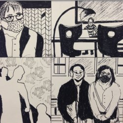 Covid-Zeichnungen von Elke Kraul